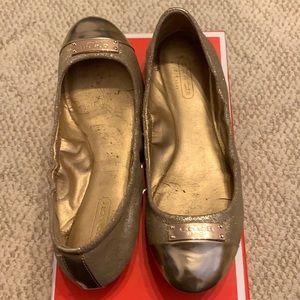 OW Coach gold ballet flats